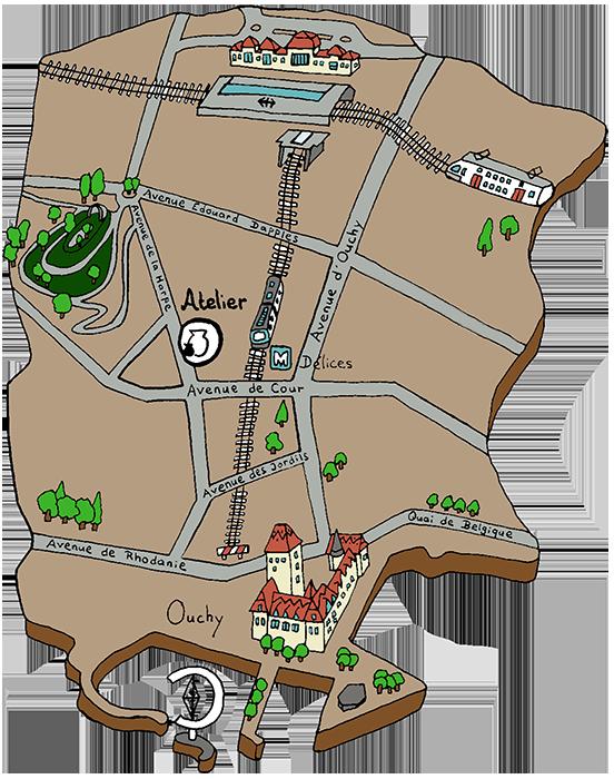 carte de Lausanne dessinée